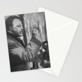 Theodore Roosevelt making a speech, 1902 - Drawing, Black and White Stationery Cards