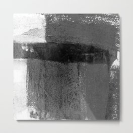 Torn Edges - Grey and White Minimalist Abstract Painting Metal Print