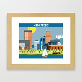 Minneapolis, Minnesota - Skyline Illustration by Loose Petals Framed Art Print