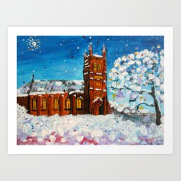 An Anglican Church on a Snowy Christmas Eve Art Print