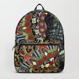 Elephant Red and Gold Indian Yoga Mandala Backpack