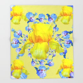 YELLOW & BLUE-WHITE IRIS BLACK ABSTRACT PATTERN Throw Blanket