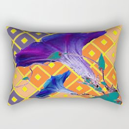 Gold & Purple Garden Floral Art Rectangular Pillow