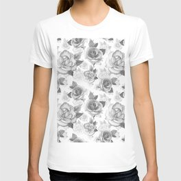 Hand painted black white watercolor roses floral pattern T-shirt
