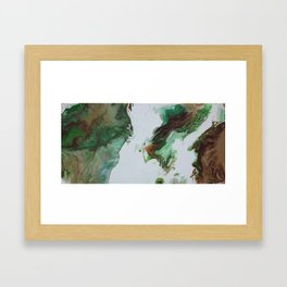 "Green Fluid Abstract Painting - Acrylic ""Third Times a Charm"" Framed Art Print"