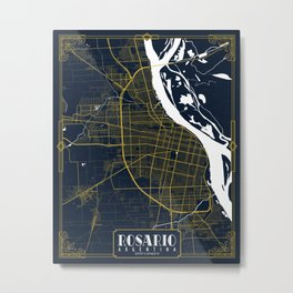 Rosario City Map of Argentina - Gold Art Deco Metal Print