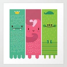 Three little monsters Art Print