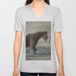 Mustang Getting Out of a Muddy Waterhole the Slow Way painterly Unisex V-Neck