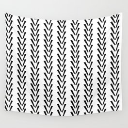Linocut abstract minimal chevron pattern basic black and white decor Wall Tapestry
