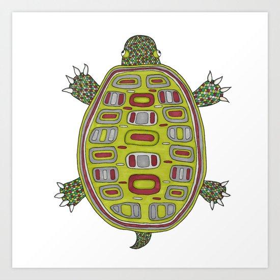 Tiled turtle Art Print