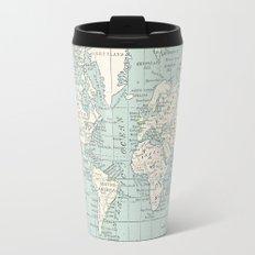 World Map in Blue and Cream Travel Mug