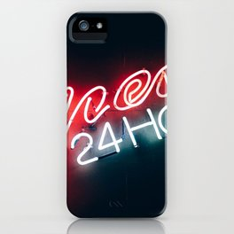 Open 24h Neon Sign iPhone Case