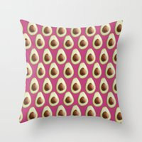 avocado Throw Pillows featuring Avocado by SandraSuarez