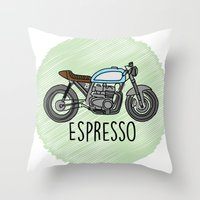 cafe racer Throw Pillows featuring Espresso - Cafe Racer by Andre Gascoigne