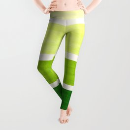 Sap Green Minimalist Mid Century Staggered Stripes Rothko Color Block Geometric Art Leggings