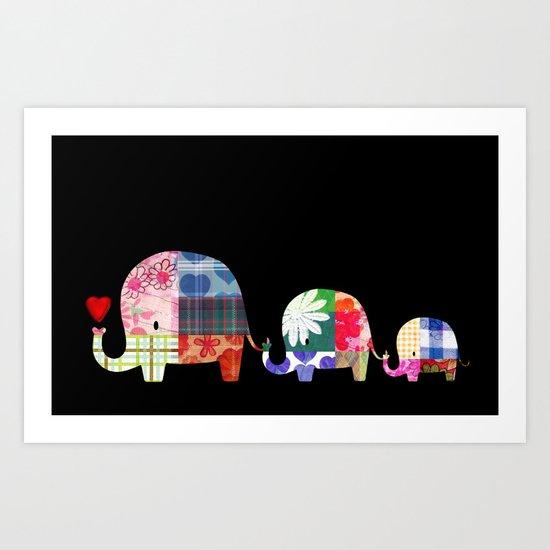 Patchwork Elephants - Love Art Print