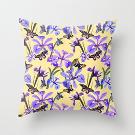 Irises and Butterflies Throw Pillow