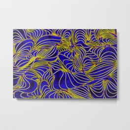 Curves in Yellow & Royal Blue Metal Print