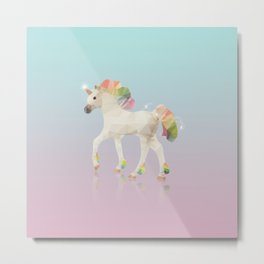 Colorful Unicorn Low Poly Polygonal Illustration Metal Print