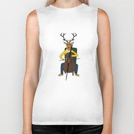 Deer playing cello Biker Tank
