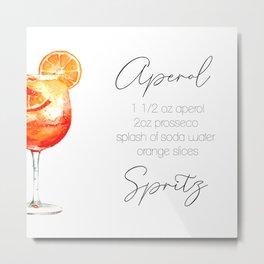Cocktail Recipes. Aperol Spritz. Square Metal Print