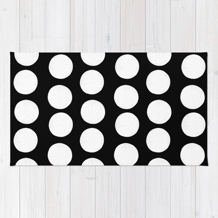 Linocut Black And White Polka Dots Dotted Pattern Minimalist Decor Nursery Rug