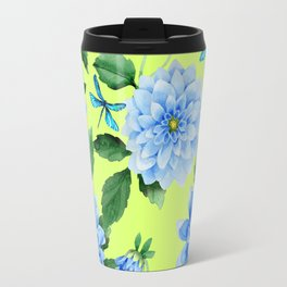 Modern blue lime punch watercolor dahlia floral pattern Travel Mug