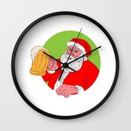 Santa Claus Drinking Beer Drawing Wall Clock
