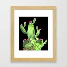Flowering Cactus Bunch on Black Framed Art Print