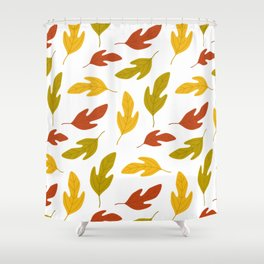 Autumn pattern with leaves on white background Shower Curtain