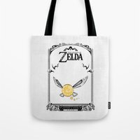 the legend of zelda Tote Bags featuring Zelda legend - Navi by Art & Be