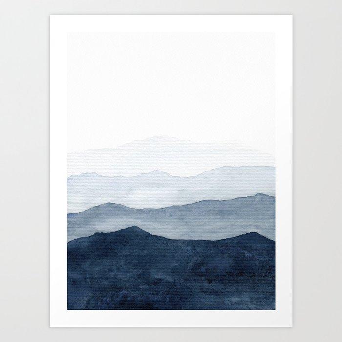 Indigo Abstract Watercolor Mountains Art Print