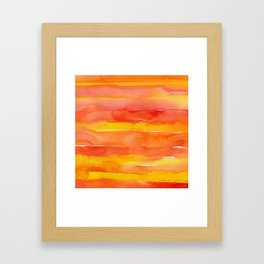 Watercolor Pattern Abstract Summer Sunrise Sky on Fire Framed Art Print