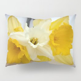 Daffodils resting in the snow after a late London snowstorm in March Pillow Sham