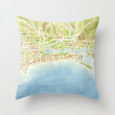Biloxi Mississippi coast watercolor map Throw Pillow