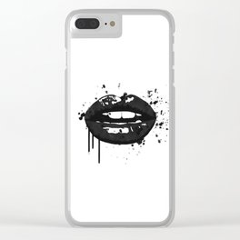 Black and white glamour fashion lips Clear iPhone Case