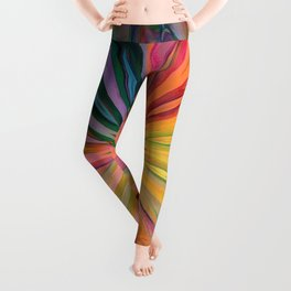 Tropical Rainbow Daisy Leggings