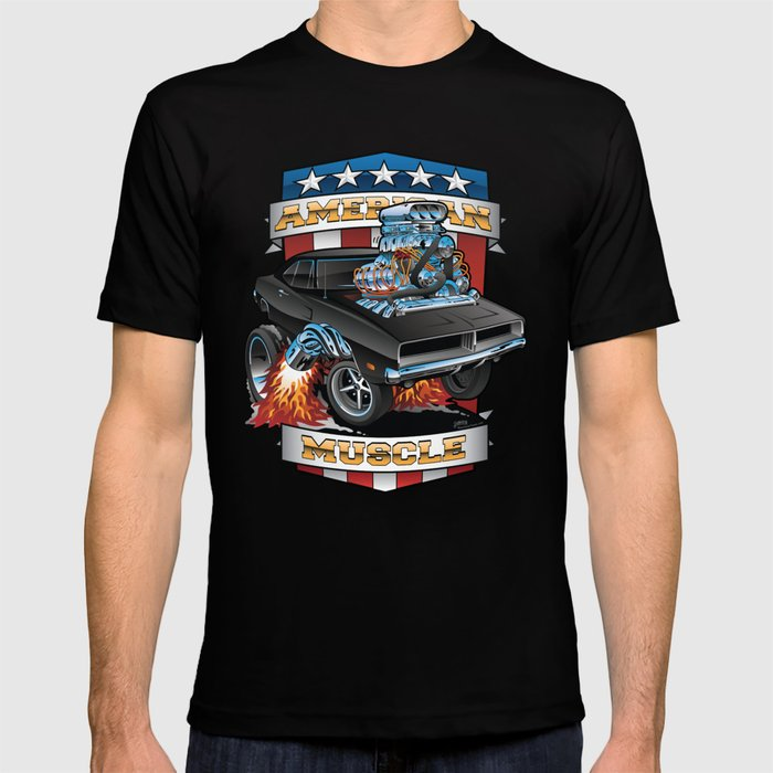 American Muscle Patriotic Classic Muscle Car Cartoon Illustration T-shirt