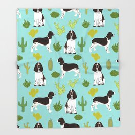 English Springer Spaniel southwest desert cactus pattern by pet friendly Throw Blanket