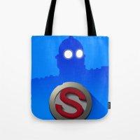 iron giant Tote Bags featuring iron giant by designoMatt