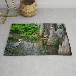 Grey heron is standing in canal. Rug