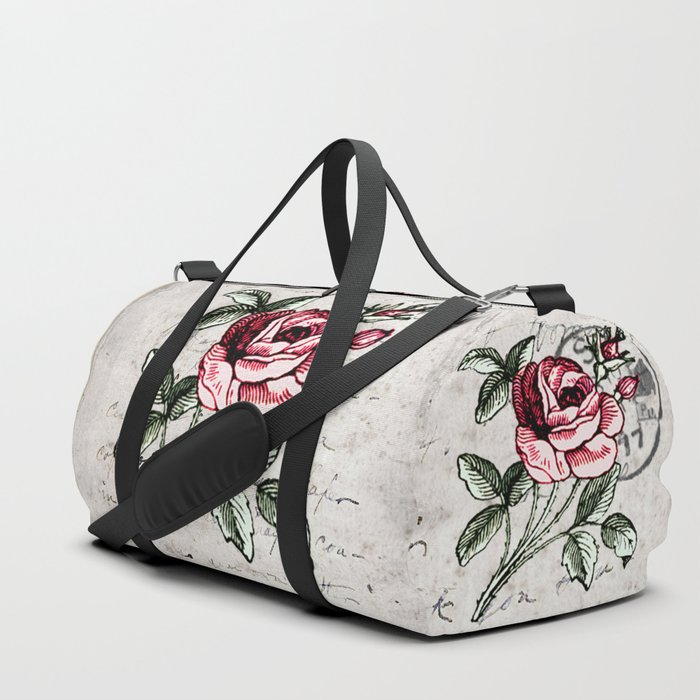 Shabby Chic Vintage Rose And Calligraphy Duffle Bag