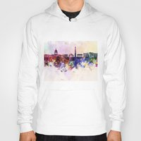 washington dc Hoodies featuring Washington DC skyline in watercolor background  by Paulrommer