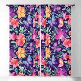 Summer Blooms & Butterflies on Dark Purple Blackout Curtain