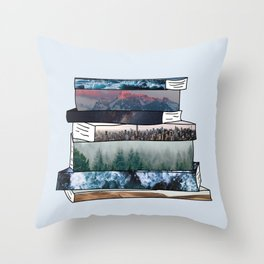 Bookish Adventures (Blue) Throw Pillow