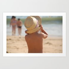kid with hat color Art Print