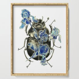 Beetle in blue irises Serving Tray