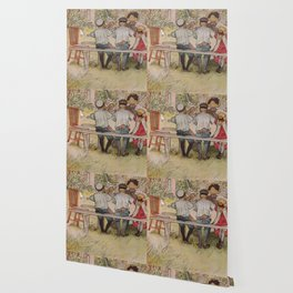 Carl Larsson Breakfast Under The Big Birch Wallpaper