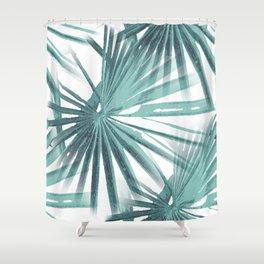 Teal Aqua Tropical Beach Palm Fan Vector Shower Curtain