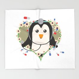 Penguin doctor with flower heart Throw Blanket
